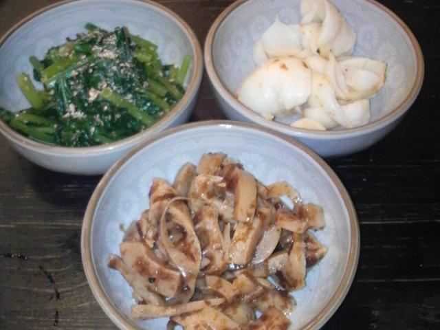 ゆりね、タケノコ、小松菜